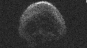 The Halloween 2015 asteroid cuts an ominous figure against the backdrop of space.